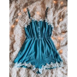 Cinderella Blue Dainty Lace Romper